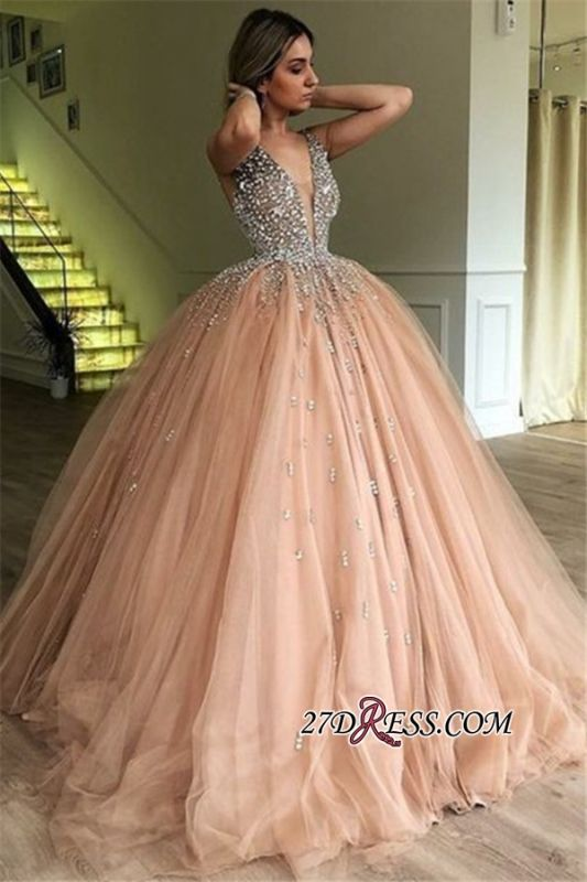 Ball Floor-Length Glamorous Tulle V-Neck Sleeveless Beading Gown Prom Dresses
