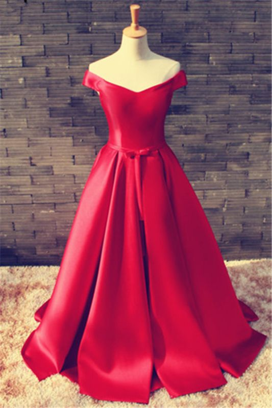 Elegant Red Off-the-shoulder 2020 Prom Dress Bowknot Lace-up