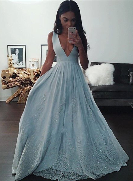 Sexy V-Neck Baby Blue Evening Dress 2020 Sequins Lace BA3638