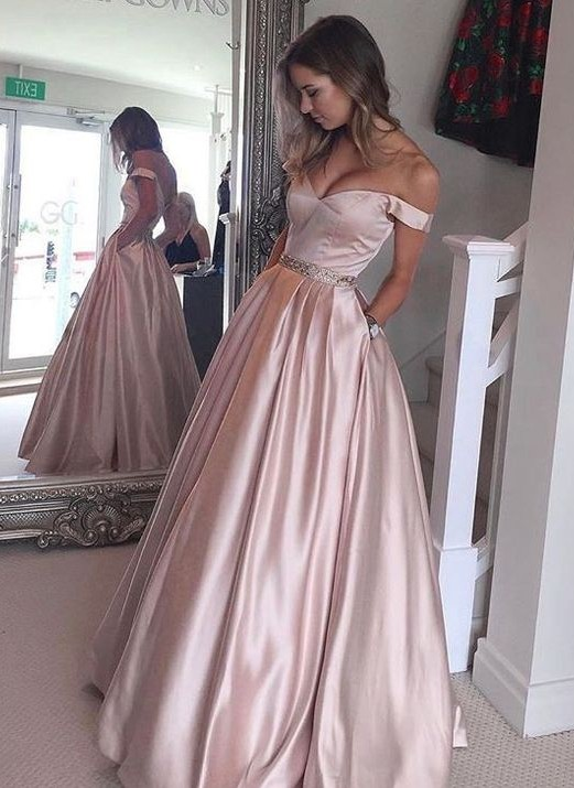 Off-the-Shoulder Beading Pockets Pearl-Pink Puffy 2020 Prom Dresses BA5008