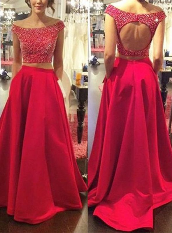 Modern Red Two Piece 2020 Prom Dress Off-the-shoulder Zipper SP0027