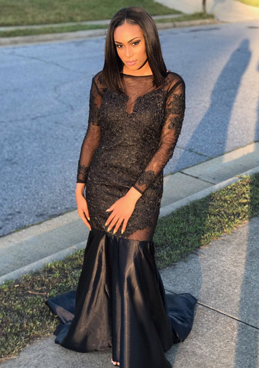 Black Long-Sleeve Prom Dress | 2020 Mermaid Evening Gowns Online
