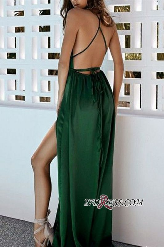 Sexy Green Side Split A-Line Evening Dresses | Deep V-Neck Spaghetti Straps Prom Dresses BC0897