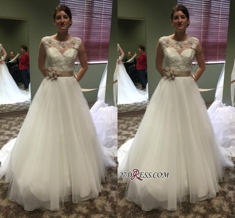 Lace Applique Princess Scoop Chic Cap-Sleeves 2020 Wedding Dresses Flower-Sashes