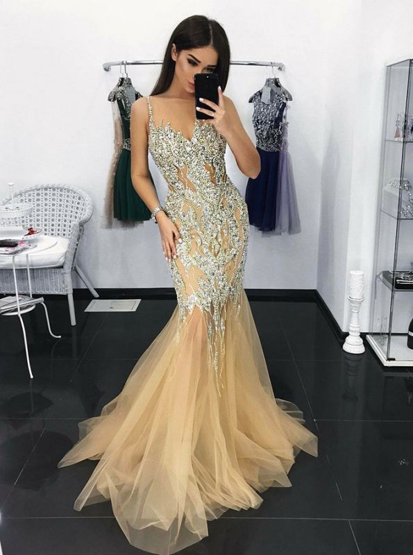 Modest Crystals Spaghetti Strap Evening Gown | Mermaid Style Party Dress