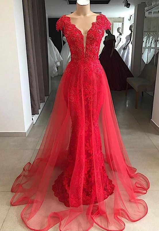 Glamorous Red V Neck Cap Sleeves 2020 Evening Dress | Lace Appliques Mermaid Overskirt Prom Gown BC1215
