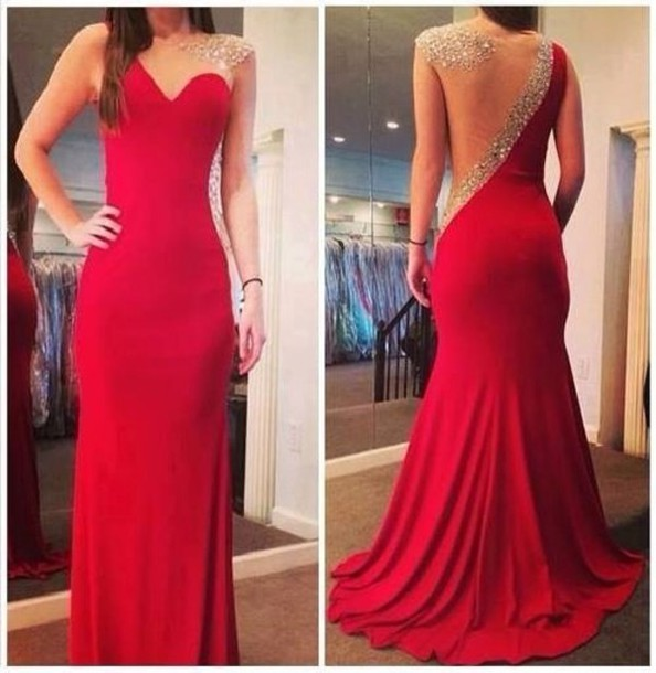 Long fashion Sexy Mermaid Prom gowns 2020 Red Sheer Back Scoop Chiffon Evening Dresses with Crystal Beaded