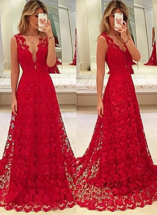 Sexy Red Lace V-Neck Prom Dress 2020 Tulle BA3843