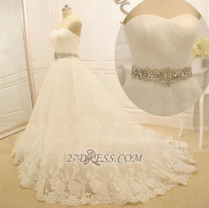 Elegant Sweetheart Sleeveless Long Wedding Dress With Beadings And Lace Appliques