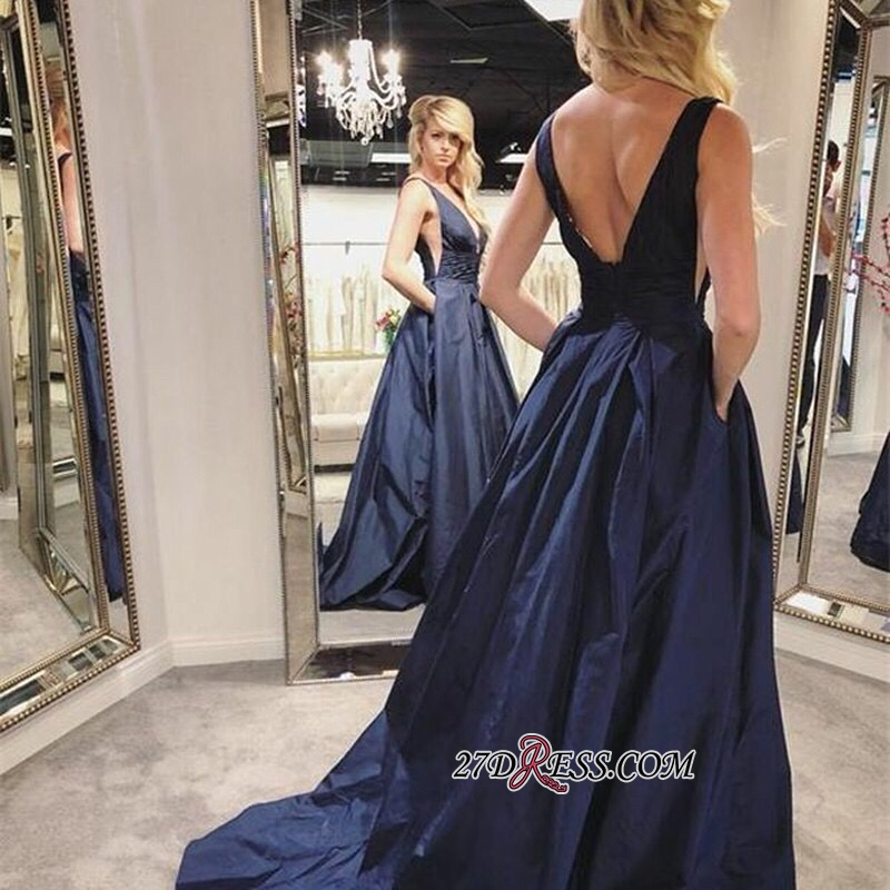 Glorious V-neck Navy-Blue Sleeveless Evening Dresses