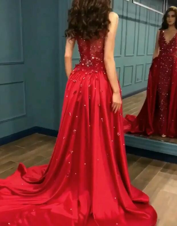 Sexy Red Crystal Sequins Prom Dresses   2020 Ruffles Long Evening Gowns BC0423