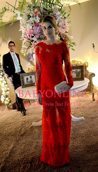 Sexy Long Red Lace Prom Dress Sleeves Gorgeous