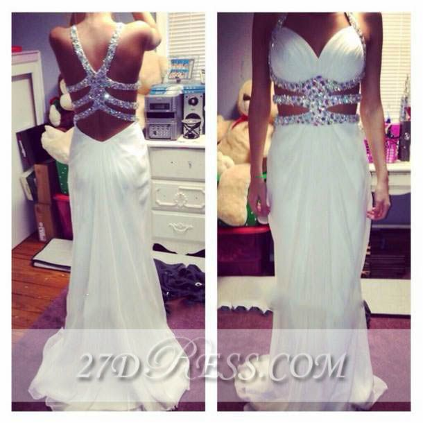 Sexy A-Line Chiffon Evening Dresses Sweep Train Prom Dresses with Beadings