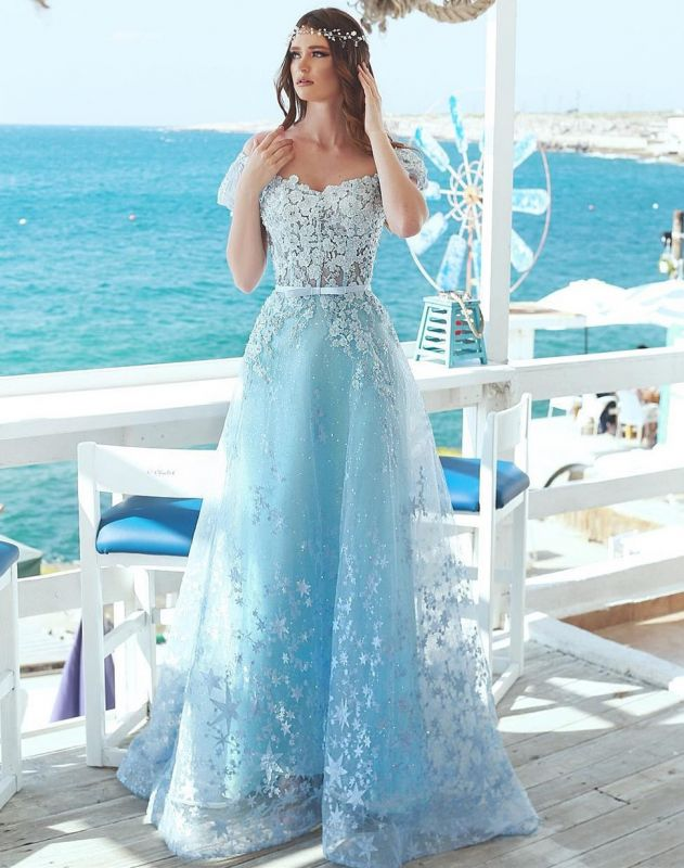 Charming Cap Sleeves Beaded Prom Dress | Princess Lace Appliques Evening Gowns On Sale