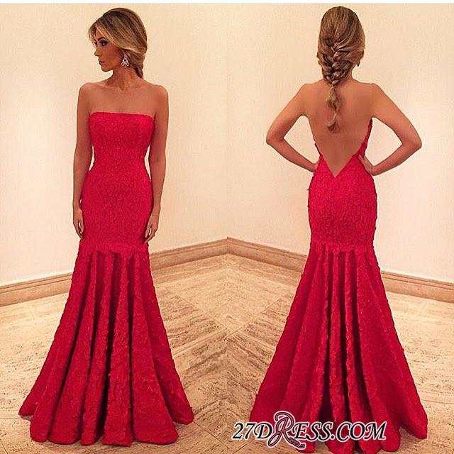 2020 Chic Floor-length Mermaid Red Backless Sleeveless Evening Dress