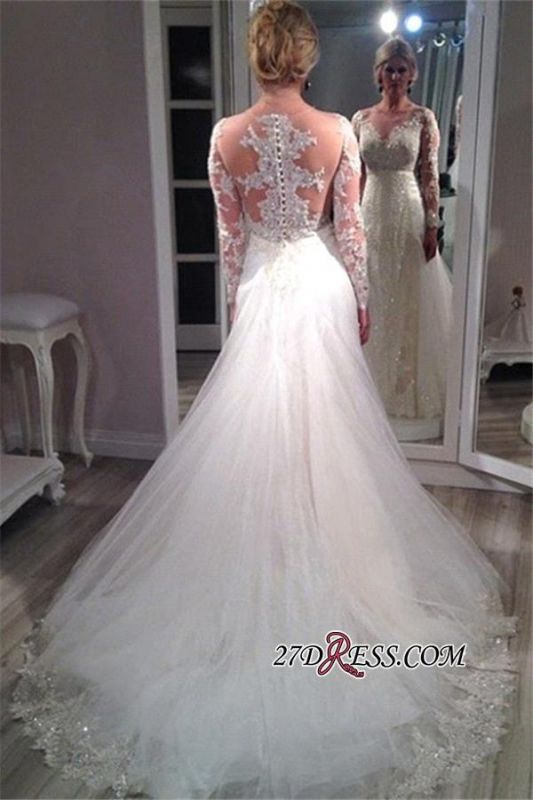 2020 Tulle Glamorous Lace Long-Sleeve Sequins Appliques Wedding Dress