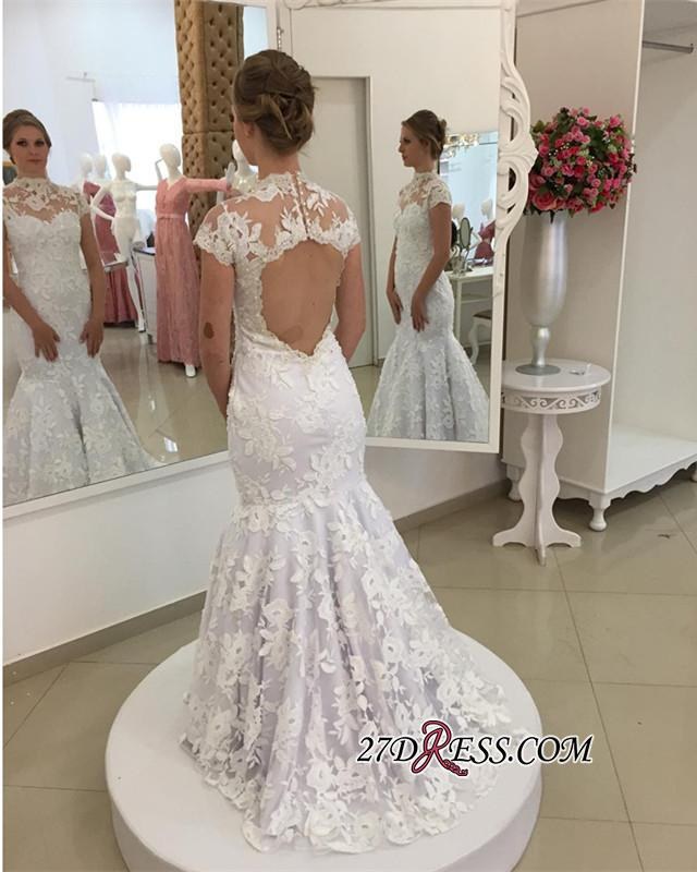 Pearls High-Neck Zipper White Newest Appliques Mermaid Lace Wedding Dress