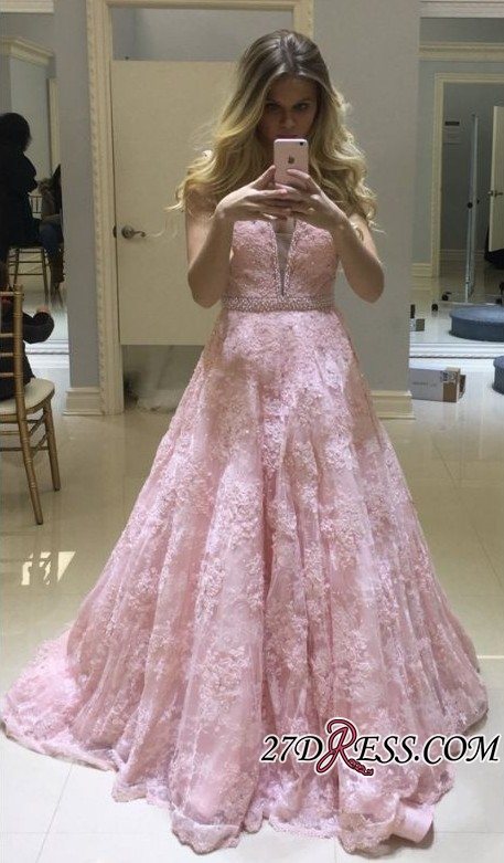 Pink Lace Prom Dress | 2020 Evening Gowns On Sale