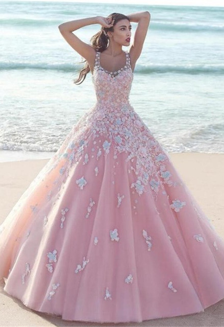 Elegant Pink Prom Dress  2020 Lace Appliques Sleeveless Evening Gowns