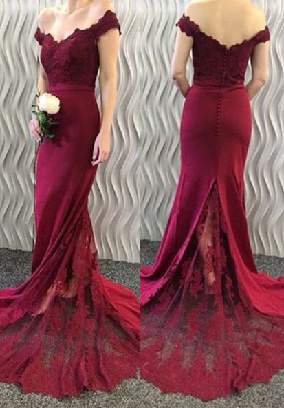 2020 Lace-Appliques Off-the-Shoulder Burgundy Mermaid Long Prom Dresses BA3997