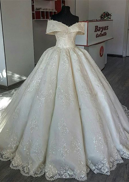 Gorgeous Lace Off-the-shoulder Wedding Dress | 2020 Ball Gown Bridal Gown