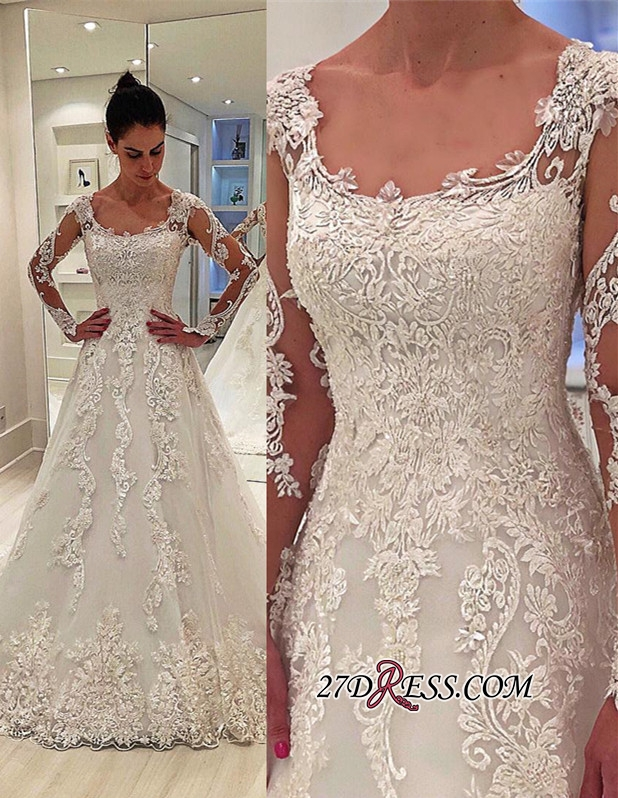 Elegant Lace Appliques A-line Bridal Gown | 2020 Square Long Sleeves Wedding Dresses