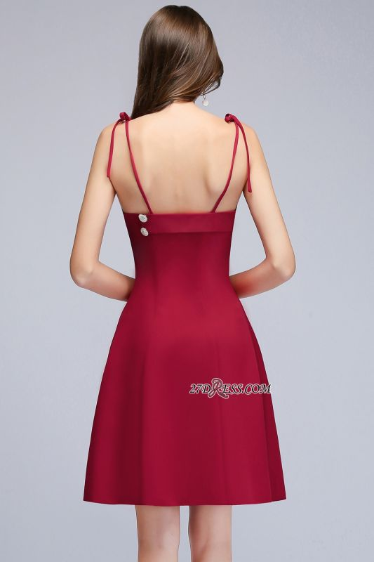 Sweetheart Spaghetti-Strap A-Line Short Homecoming Dress with Buttons