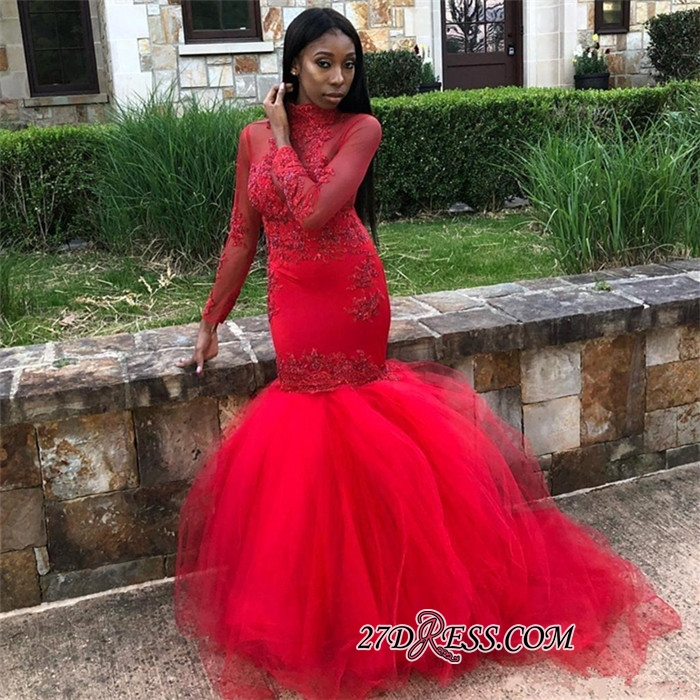 Sexy Red Long Sleeve Prom Dresses   2020 Mermaid Evening Party Gowns BK0