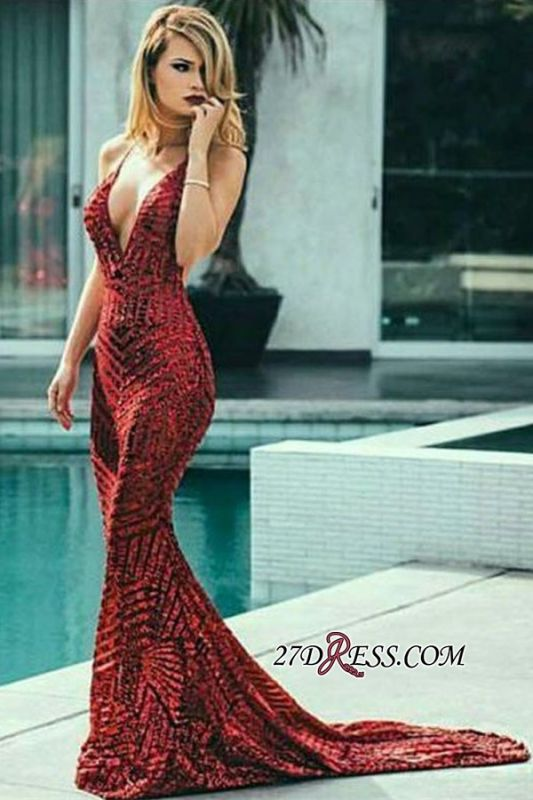 Sexy Burgundy Sequins Mermaid Prom Dress | Spaghetti Straps Cheap Evening Gowns Online BK0