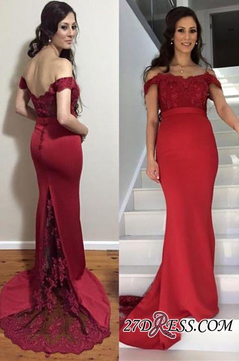 Newest Zipper Mermaid Off-the-shoulder Lace Maternity Sweep-Train Prom Dress