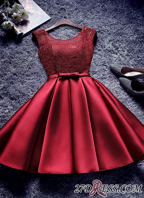 Bowknot-Sash Red Lace-Up-Back A-line Homecoming Dresses BA7429