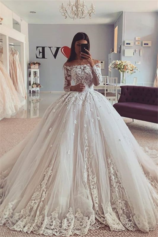 Gorgeous Lace Appliques Off-the-shoulder Ball Gown Wedding Dresses