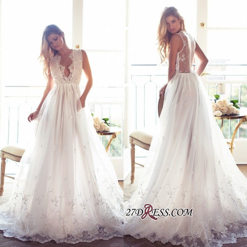 Gorgeous Princess Sleeveless Lace Appliques A-Line V-Neck Wedding Dress