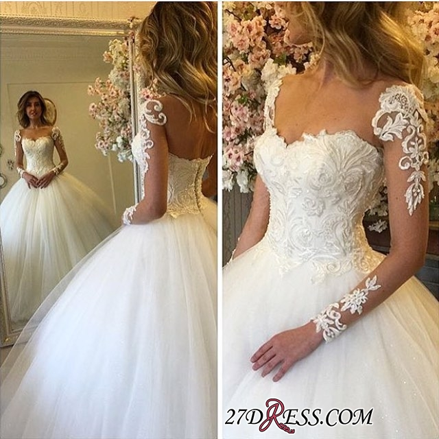 Lace-up Ball-Gown Luxury Long-Sleeves Lace Wedding Dress