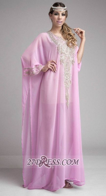 Elegant Long Sleeve Chiffon Arab Evening Dress With Beadings Crystals Floor-length