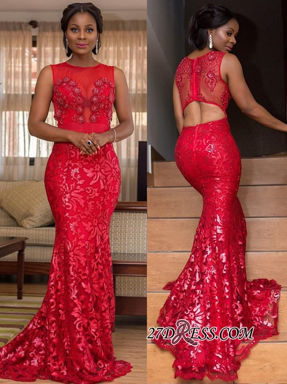 Elegant Red Lace Appliques Mermaid Prom Dresses | Scoop Sleeveless Cut Back Evening Dresses BK0