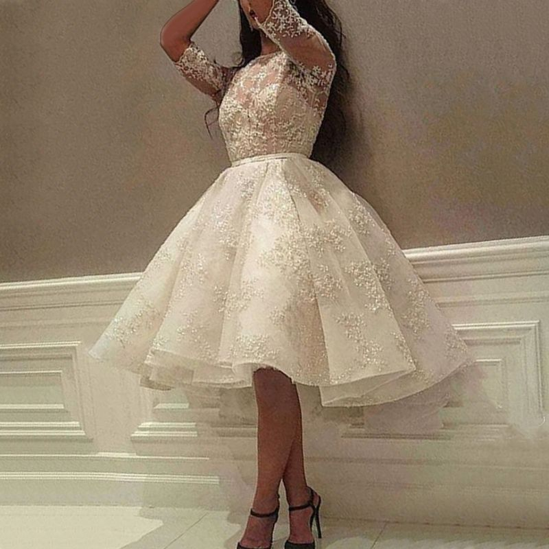 Delicate Lace Half-sleeve A-line Wedding Dress   Knee-length Bridal Gown