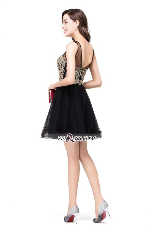 Sleeveless Appliques 2020 Sexy Black Tulle Homecoming Dress