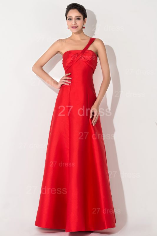 Newest A-line Red Sleeveless Evening Dress Floor-length Lace-up