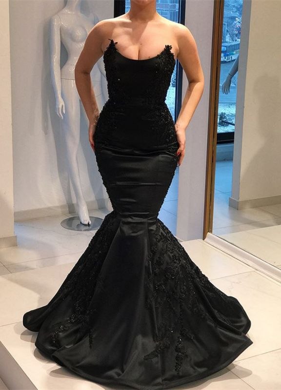 Gorgeous Black Evening Dresses |2020 Mermaid Long Prom Gown