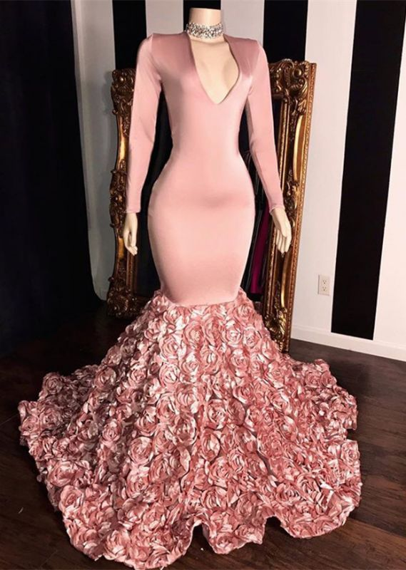 Elegant Long Sleeve Pink Prom Dresses | 2020 Mermaid Flowers Bottom Evening Gowns BC1341
