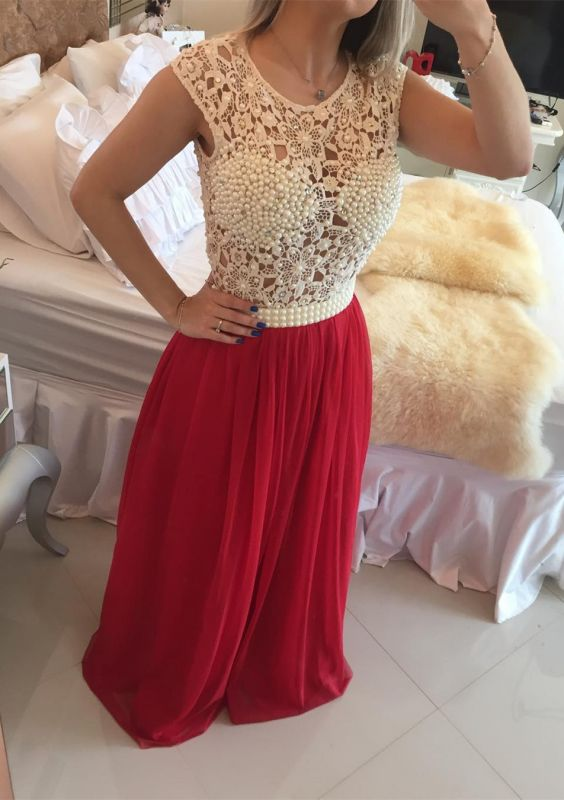 Gorgeous Red Pearls Lace Prom Dresses 2020 Long Chiffon BT0