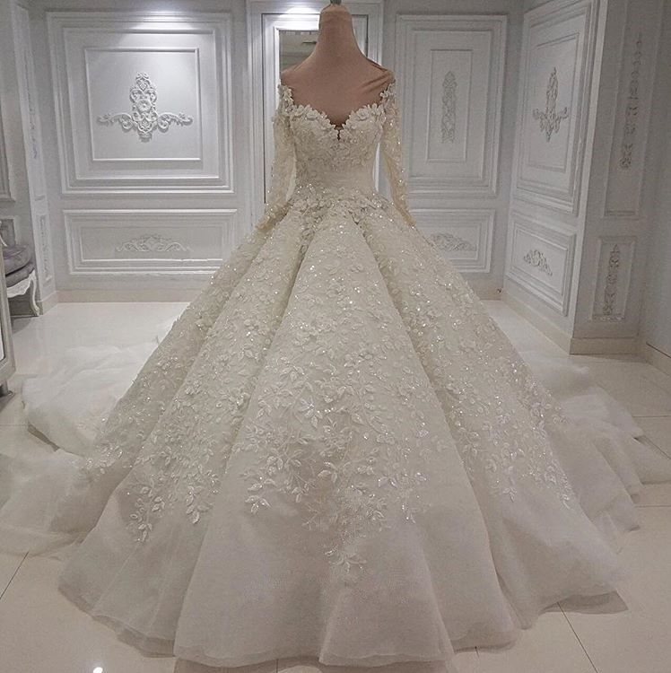 Charming Long Sleeve Lace Appliques Bridal Gowns | 2020 Ball Gown Wedding Dress With Zipper Button Back