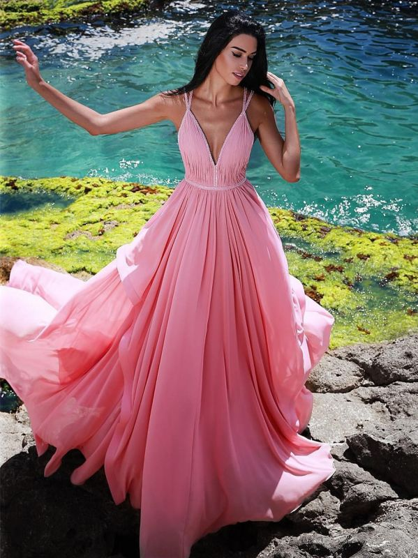Gorgeous V-Neck Sleeveless Evening Gowns | Pink Long Ruched Princess Prom Dress On Sale