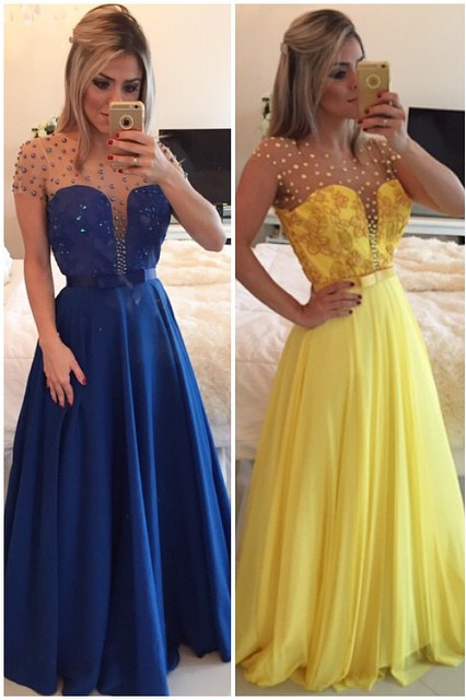 Elegant A-line Illusion Cap Sleeve Evening Dress Beadings Appliques Foor-length Chiffon Prom Gown