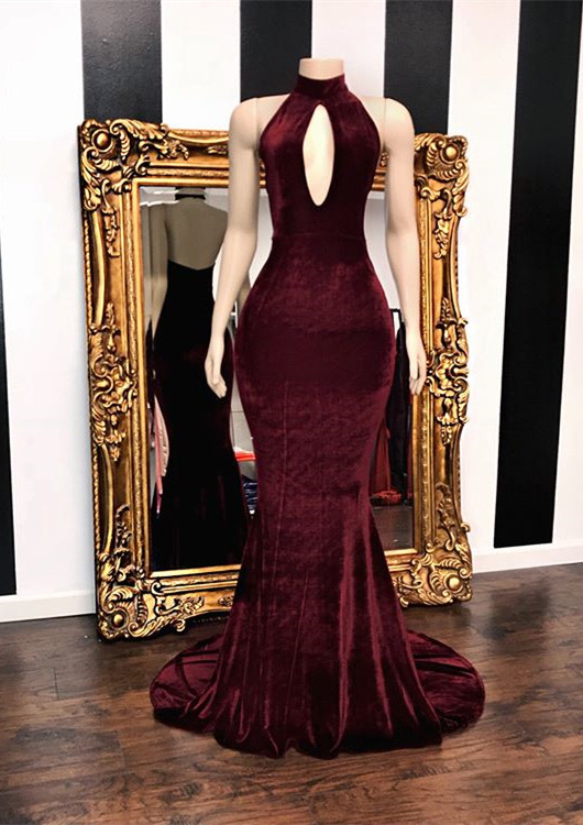Burgundy Velvet Mermaid Prom Dresses | 2020 Long Keyhole Evening Gowns BC3473