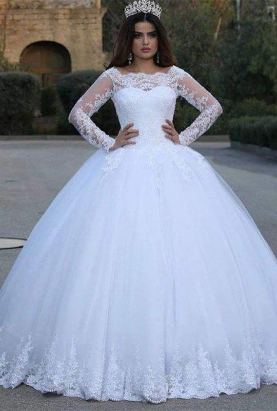 Modern Long Sleeve Lace 2020 Wedding Dresses Tulle Ball Gown BC0232
