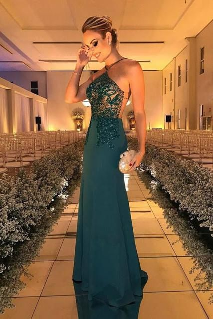 Sexy Open Back Lace Beads Evening Dress | Mermaid Green Party Gown