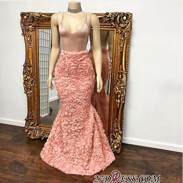 Spaghetti-Strap Gorgeous Mermaid Floor-Length Prom Dress BA8931