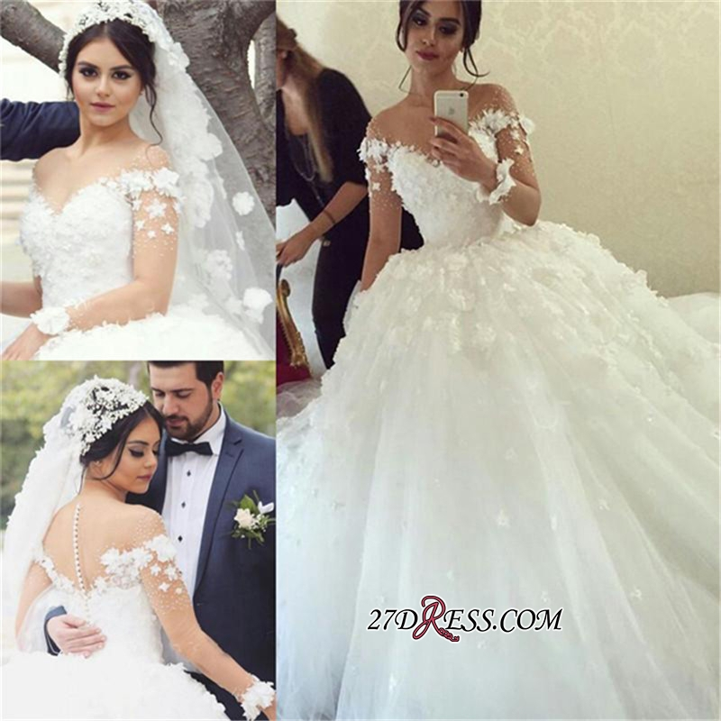 Long-Sleeves Unique Appliques Ball-Gown Wedding Dress BA2699